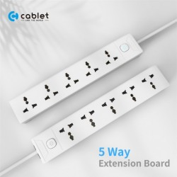 Cablet 5 Socket 1 Switch and 4.5m Cable Extension Board