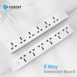 Cablet 6 Socket 1 Switch and 4.5m Cable Extension Board