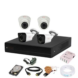 CP Plus Full HD (2.4MP) 4 CCTV Camera & 4 Channel Full HD DVR Kit with all Accessories
