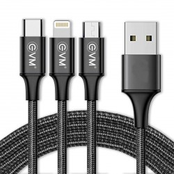 EVM 3 in 1 Metal Head Nylon Braided Charge/Sync Cable