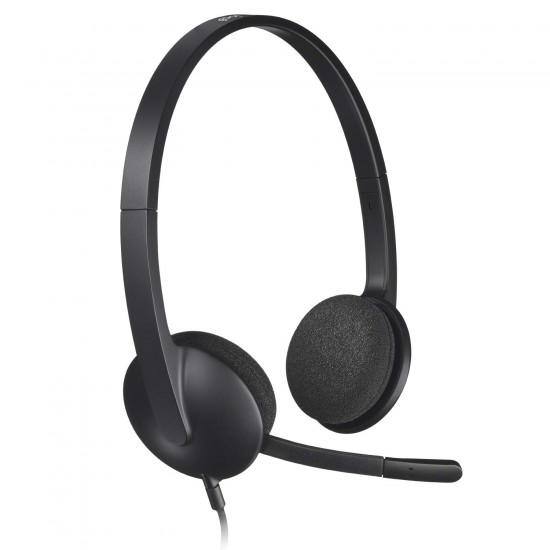Logitech H340 Wired USB Business Headset Stereo Headphones with Noise-Cancelling Microphone