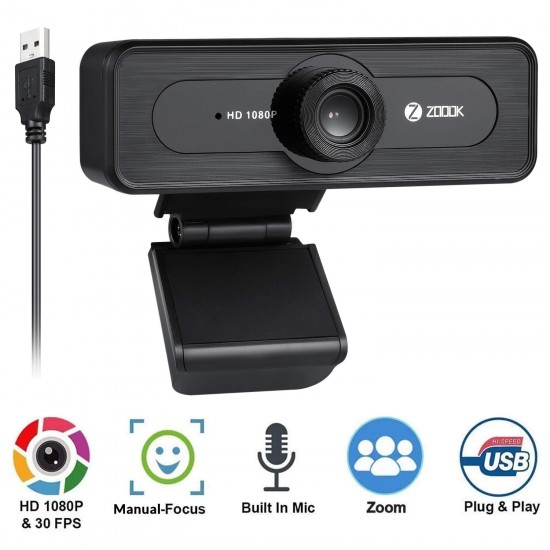 Zoook 1080P Webcam with Microphone USB 2.0 PC Laptop Desktop Web Camera