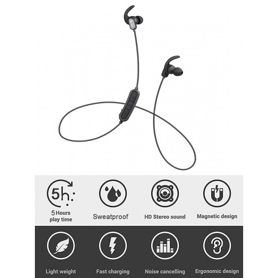 Zoook Upbeat Sports Wireless Bluetooth Headphones with Built-in Mic